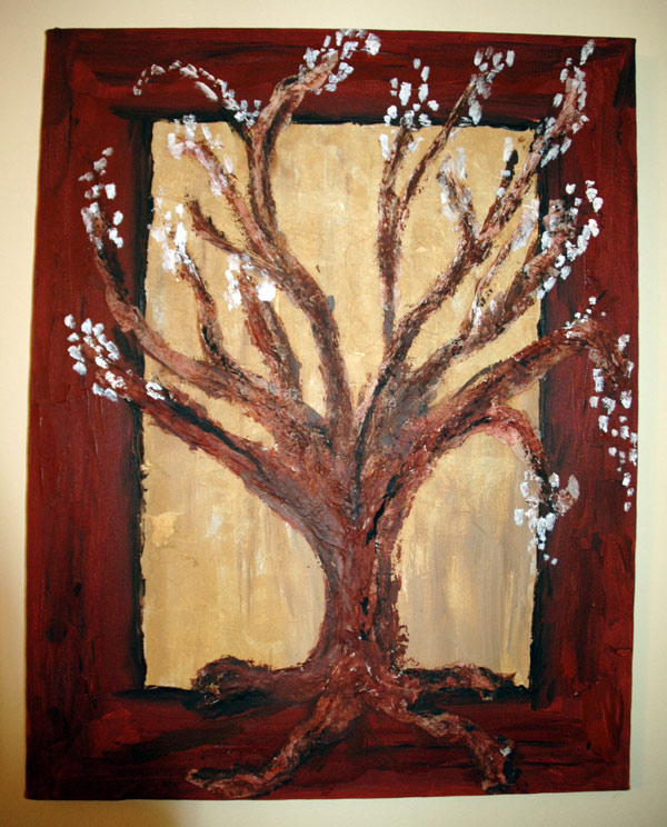 A tree I painted using tissue paper for texture.