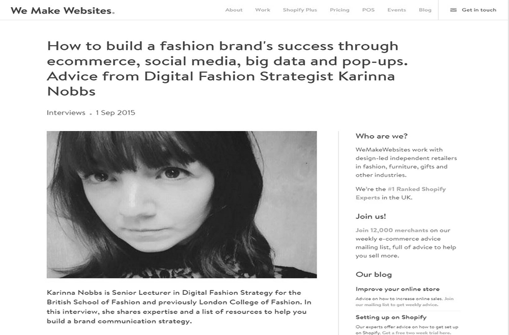 Interview: Fashion Digital Strategy for Start Ups (2015)