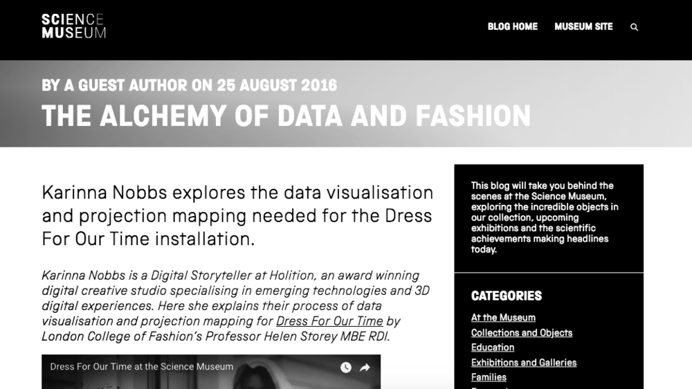 AUTHOR: Guest blog post for the Science Museum on Data Visualisation (2016)