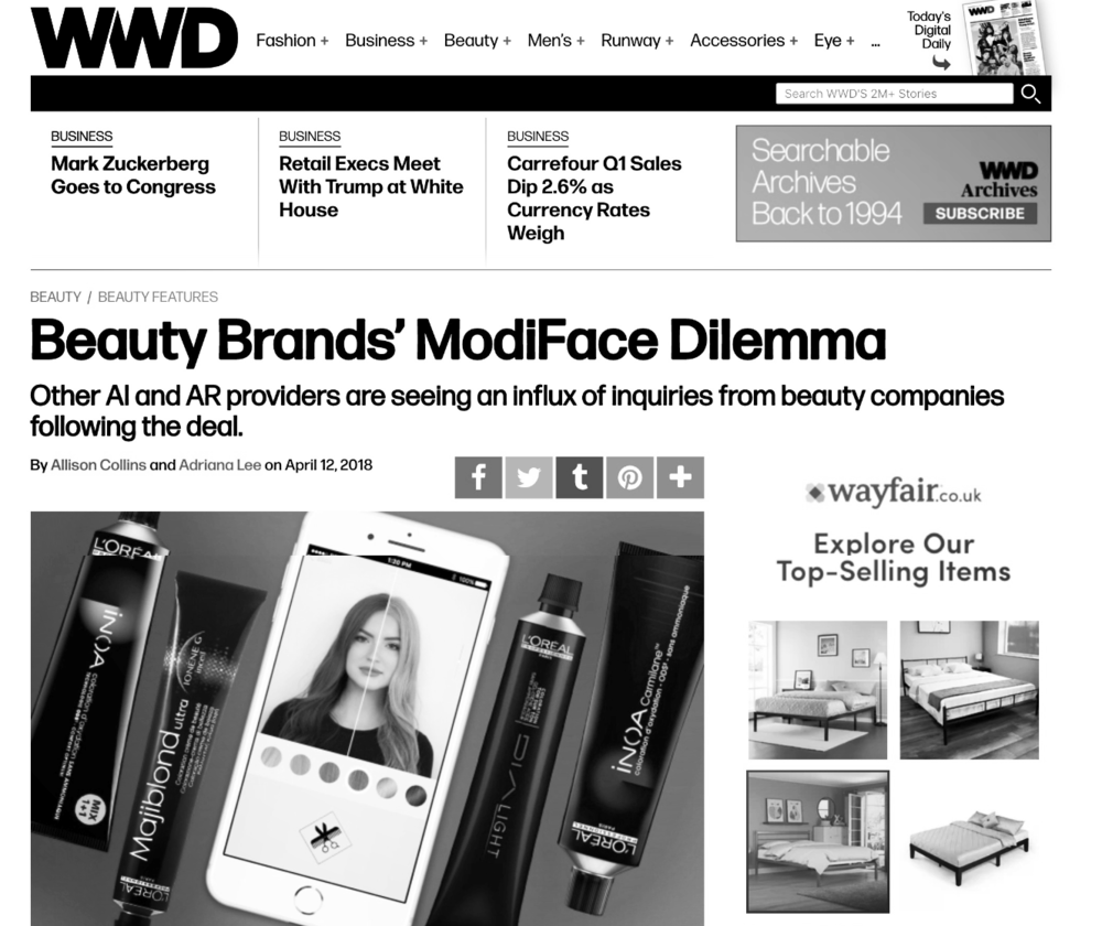 COMMENTARY: WWD Article on Beauty AR (2018)