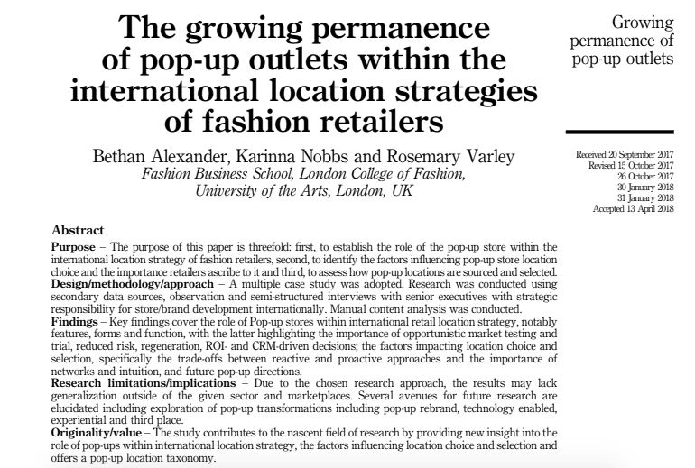 CO-AUTHOR: Pop Up Location Strategies in Journal of International Retail and Distribution Management (2018)