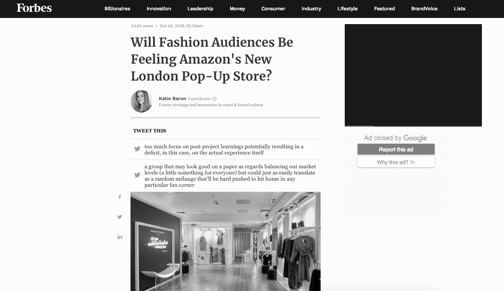 COMMENTARY: Forbes article re Amazon Pop Up Retail