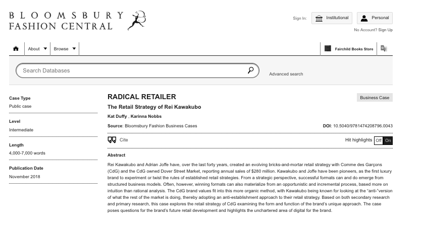 CO-AUTHOR: Rei Kawakubo - Radical Retailer Bloomsbury Case Study