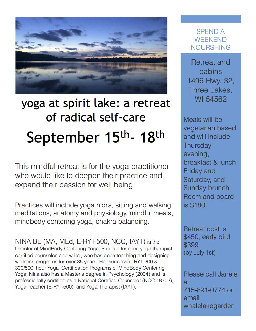 Yoga retreat at spirit lake