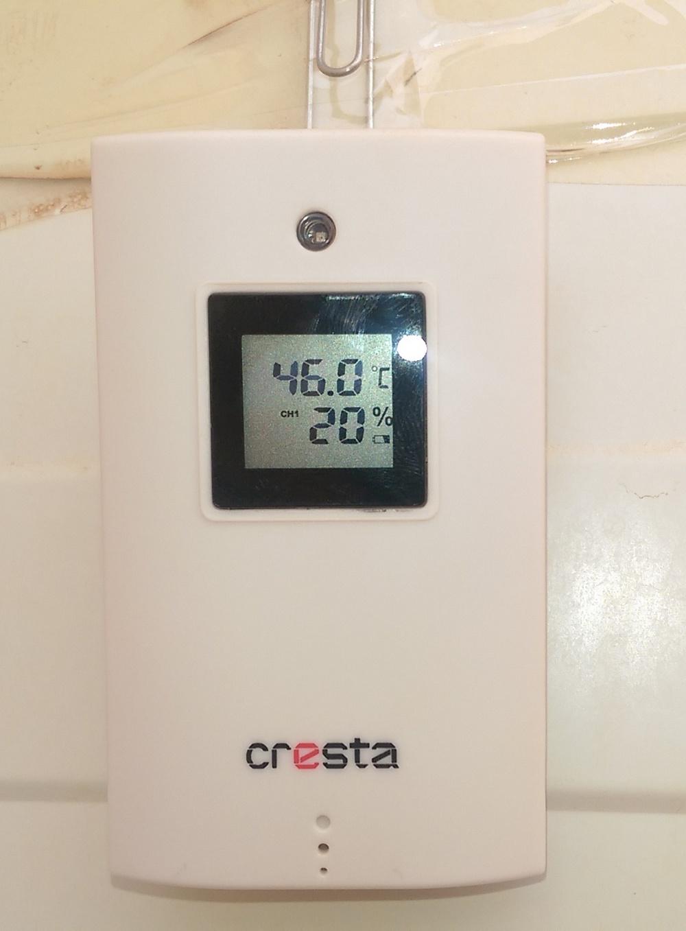 De hoogste temperatuur die ik tot nu toe heb gehad. De thermometer hangt in de schaduw.