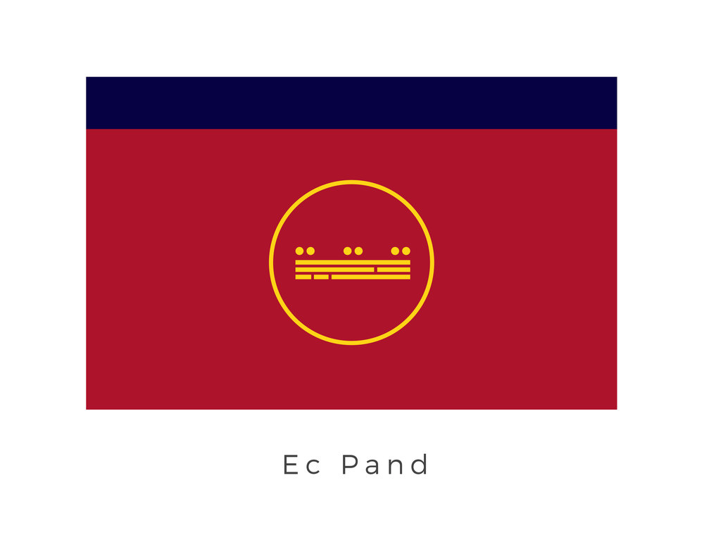 Ec Pand  was a Mid Rim world that was located within the Ado sector, and was one of the Induparan Crown Worlds. The Induparan Monarchy was headed by House Indupar and governed both Indupar in the Mid Rim, as well as the Induparan Crown Worlds. The deep blue band, as well as the gold emblem represent that Induparan Monarchies rule over the planet while the rich red, is a note to the planets red soil.