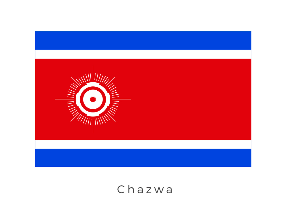 Chazwa  was a cold planet in the Chazwa system of the Orus sector, located in the Inner Rim. Its location along a popular freighter traffic route made it an ideal shipping center for all sorts of goods. As such, heavy freighter traffic within the system was not an uncommon sight. The blue strip on the flag represents its willingness to trade with the Galactic Republic while the red and white strip is that of the planet. The icon which sits on the left hand side of the red strip represents the planets pivotal point in the Outer Rim of the Galaxy as a trade post and central hub for communication.