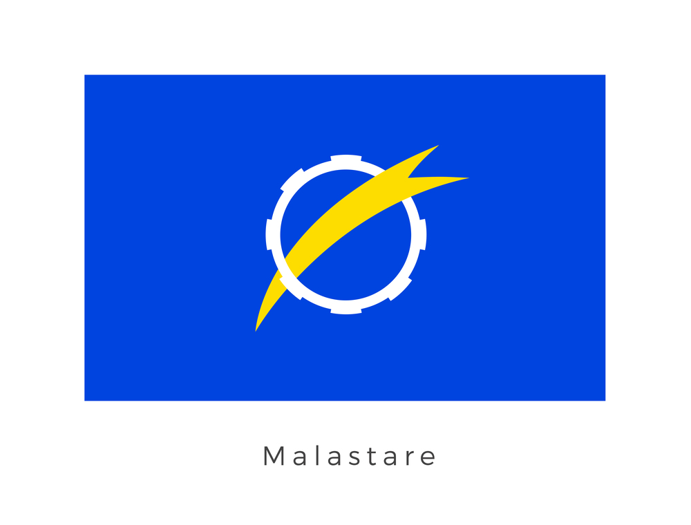 Malastare  was the high-gravity homeward of the quadrupedal Dug race, on Hydian Way. The planet has a variety of terrains including forests, deserts, methane lakes and rivers. This made it a favourite location for pod racing. Interstellar stars compete on the planet in races, the most famous being Malastare 100. Due to the planets significant placement along the Hydian Way it has wielded significant political and economic relevance in the universes for some time.  The white mechanical graphic with the golden arch traditionally represented Malastares significant role in the development and success of the Hydian Way trade route. Over time it has come to be misidentified as a symbol of the inhabitants love for podracing. As with other flags of the universe, royal blue often signifies a long standing association with the galactic republic. Since 8000 BBY the Galatic Republic has had an outpost on the planet, with Malastare having played a significant part in the politics of the universe. The royal blue was adopted early on as a open gesture of assimilation with the republic.