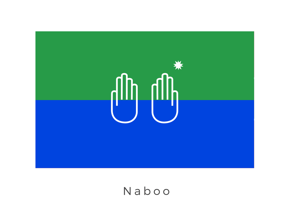 Naboo  was a bountiful planet in the Mid Rim, close to the border of the Outer Rim Territories. It was home to the Gungan species and to a population of humans known as the Naboo. Modern Naboo was founded by the refugees of the planet Grizmallt. The hand and star graphic are that of the Grizmallt royal family. The monarchy of Naboo kept many of the outer regalia of the Grizmallt monarchy, but eventually become elected rather than hereditary. The Naboo government exists in a distant but significant unison with the Gungan species. This unison is represented by the blue of the water (where the Gungan live) and the green of the surface (where the Naboo live). The hands also signify this unison however the star on the right hand shows that the power of representation and government lies squarely with the Naboo.