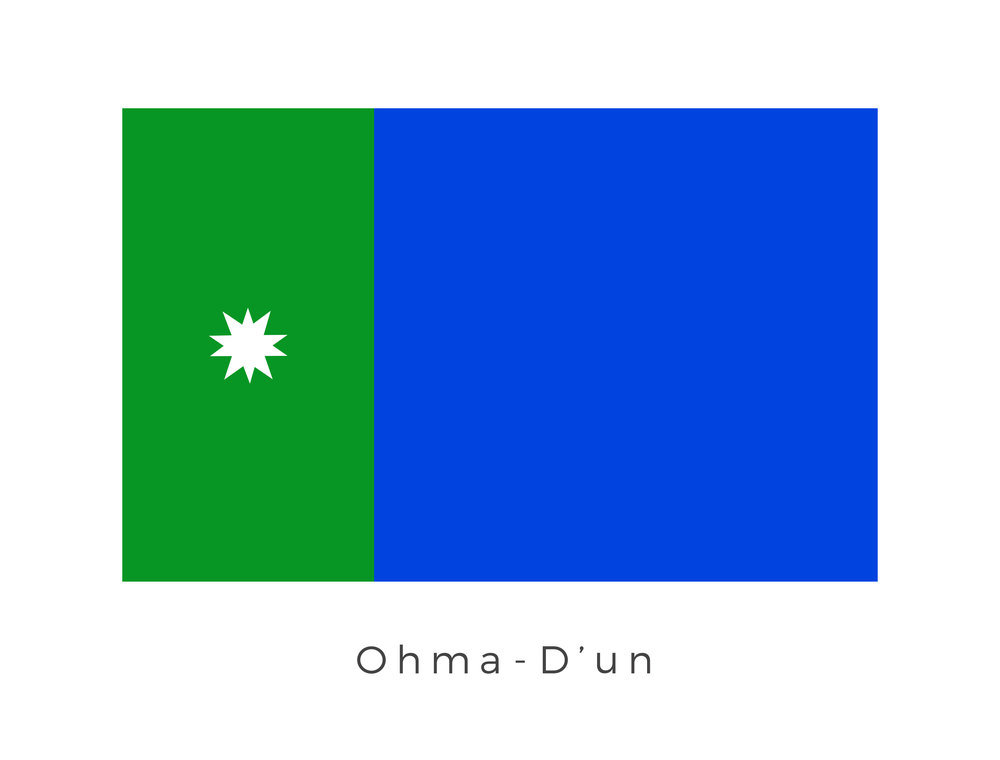 Ohma-D'un , also known as the Water Moon, was the largest moon of Naboo. In 32 BBY, following their newfound alliance with the Human people of Naboo, the Gungans established a settlement on Ohma-D'un, bringing multiple specimens of vegetal and animal life to populate the otherwise uninhabited moon. The large plain of blue represents the good will by the Human people of Naboo in gifting the moon to the Gungans for settlement however the strip of green with the central star ultimately means the government of Ohma-D'un still lies squarely with the Human ruled government of Naboo.