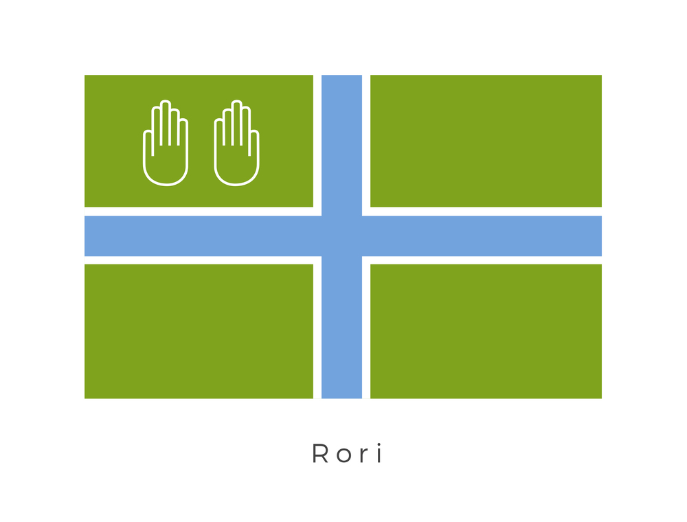 Rori  was one of the three moons of the planet Naboo. Located in the Chommell sector of the Mid Rim, Rori was a swampy world, with trees more twisted and knotted than those of Naboo. The moon had its own local government run by former Colonists (represented by the cross graphic) however the two hand graphic of Naboo signifies its place within Naboos territory.