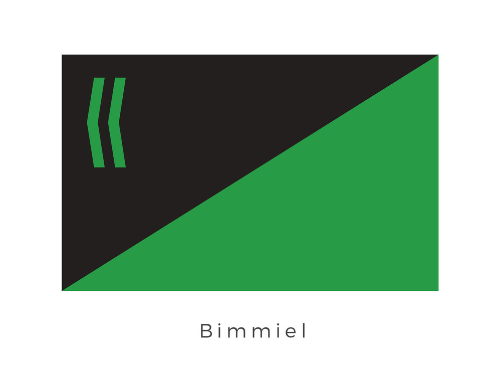 Bimmiel  was a planet in an elliptical orbit around its primary star in the MZX33291 system. The fifth planet in the system, it was named after Bimmiel, the Imperial scout who rediscovered it. As the planet neared the sun, its ice caps melted, triggering an increase in moisture and plant growth. While the green and black dividing panels represent the planets unique ecosystem the two bars on left hand corner are the iconography of Bimmiel, the Imperial Scout.
