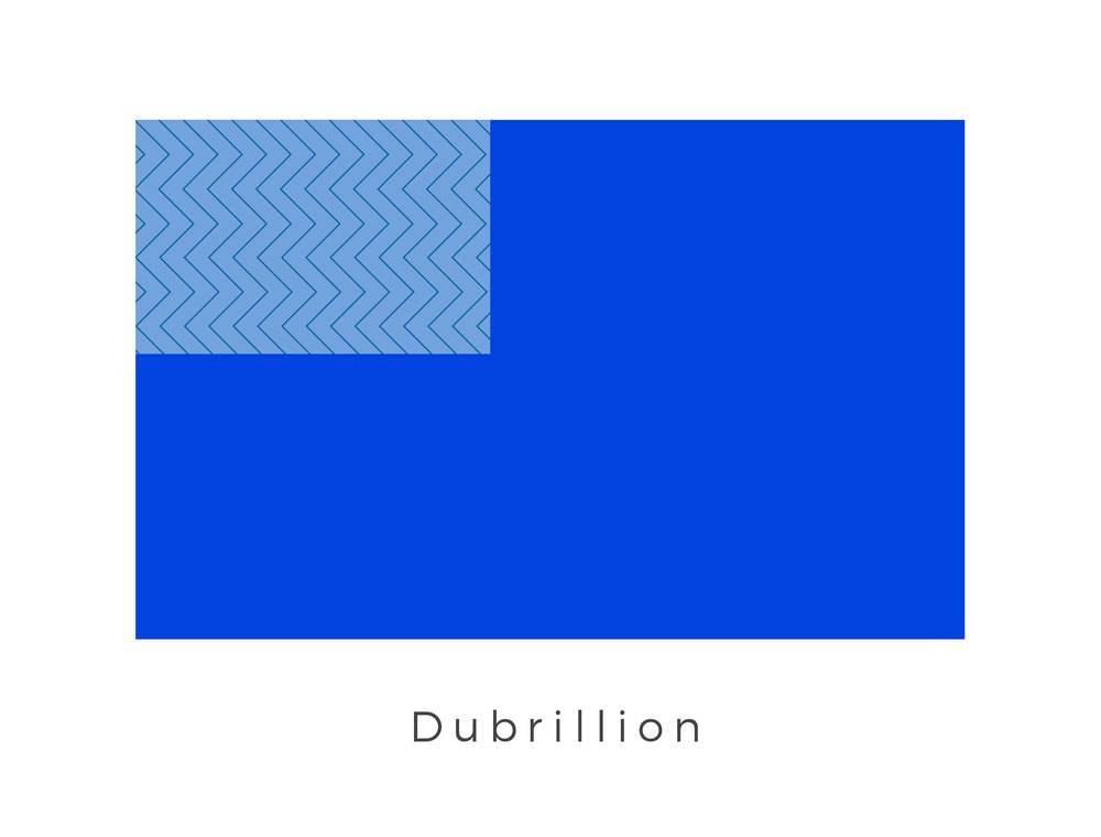 Dubrillion  was a planet with beautiful oceans and lush-green continents, framed with fluffy white clouds. It was the sister world of Destrillion. The chevron flag tradition is used to represent the ruling monarchy of the planet.