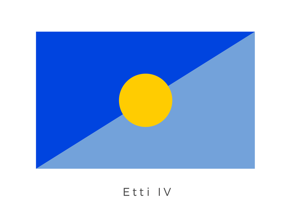 Etti IV  was the capital of the Corporate Sector and a hot, stormy and dense world. The planet was settled by the Etti, a blue-skinned race of Near-Humans who left the Core Worlds circa 20,000 BBY to escape persecution. The golden globe within the blue panels represent the people of Etti and their gratitude to the planet for providing a place to inhabit.