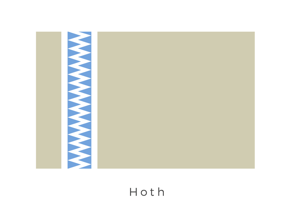 Hoth  was a remote, icy planet that was the sixth planet in the star system of the same name. It notably hosted Echo Base, the temporary headquarters of the Alliance to Restore the Republic, until the Galactic Empire located the Rebels, initiating a major confrontation known as the Battle of Hoth. The flag is derived from tribal patterns found on the planet and the colours of the planet as seen from space.