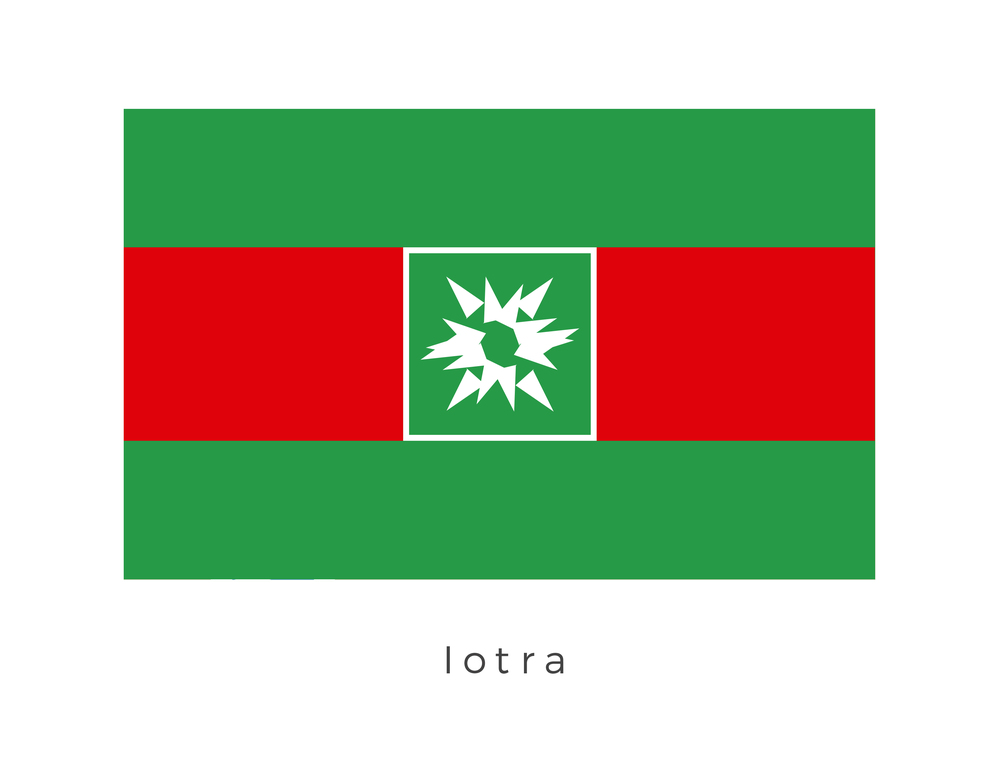 Iotra  was the fifth planet in the Iotran system and the temperate, industrial homeworld to the militant Iotran species. The planet was ruled by the Joint Council, eight top-ranking leaders of the Iotran Police Force (IPF). The red and green strip, including the central emblem represents the logo of the IPF.