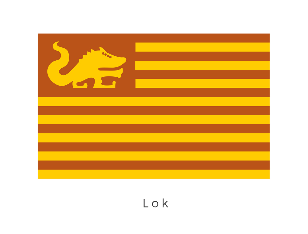 Lok  was a barren, dusty planet in the Outer Rim Territories. Sulfur pools, lifeless rivers, and volcanoes were commonly found on the planet. The colours of the flag derive from its surface colour whilst the bands signify the differing tribes which make up its population. The animal graphic in the top left corner is the Kimogila, which was native to the planet.