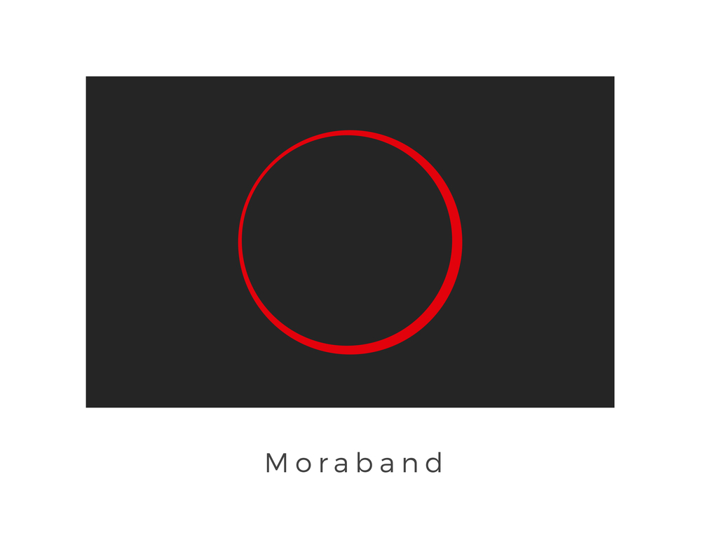 Moraband  was an Outer Rim planet that was home to the ancient Sith. The desolate and mountainous world was abandoned after many ancient wars. The Valley of the Dark Lords on the planet's surface was the final resting place of Darth Bane, the Sith Lord who created the Rule of Two. During the Clone Wars, Yoda ventured to the abandoned world as part of his journey to discover the secrets of eternal consciousness. The black surface of the flag represents the dark side of the force while the fully eclipsed graphic represents the Valley of the Dark Lords.