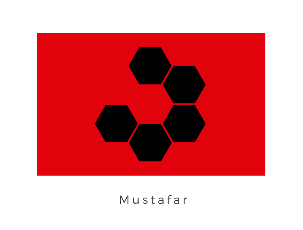 Mustafar  was a small volcanic planet located in the Mustafar system, situated between two gas giants in the Outer Rim Territories. The surface of the planet was primarily lava which meant all buildings were held up by gravity supports. These supports become the signifier of the planet and therefore were used on the flag along with the red and black of the planets surface.