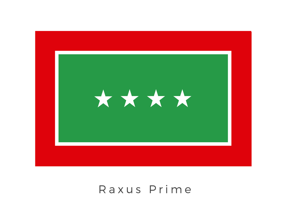 Raxus Prime , once known as the Circlet of the Tion and Nikato's Shining Gem, was a waste-covered planet in the Raxus system. It was packed with toxic debris and had a poisonous surface. Raxus Prime was a highly industrial planet covered with immense factories, sealed living habitats, streams of superheated run-off water, rough-hewn quarry pits, vast debris fields, and toxic lakes. Most of the planet's residents lived in sealed environments near industrial facilities where they worked. The planet once held an important seat in the galaxy as a hub for technology and manufactoring. The four stars in the plain of green represent this period with each star signifying a major industrial export from Raxus Prime.