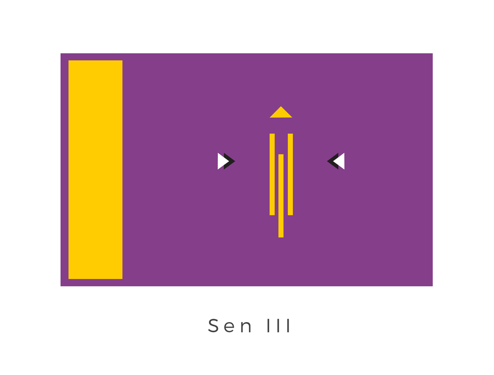 Sen III , best known as D'ian, was a planet with balmy weather and shallow seas that was located within the D'ian system of the Outer Rim Territories. After the rise of the Galactic Empire, which formed in 19 BBY, the planet came to be part of the Corporate Sector, an area of space controlled by the Corporate Sector Authority. While a part of the Corporate Sector, D'ian became a thriving merchant world with several successful business schools. The Corporate Sector Authority (CSA) was the government of an interplanetary fiefdom, administered by a brutal and tyrannical corporatocracy, that operated in the Corporate Sector, which was located at the front end of the Tingel Arm region in the Outer Rim Territories. The emblem on the right hand side of the flag is of the CSA and represents their dominance over the planet. The purple and gold colours of the flag are derived from the famous D'ian orchid vines native to the planet.