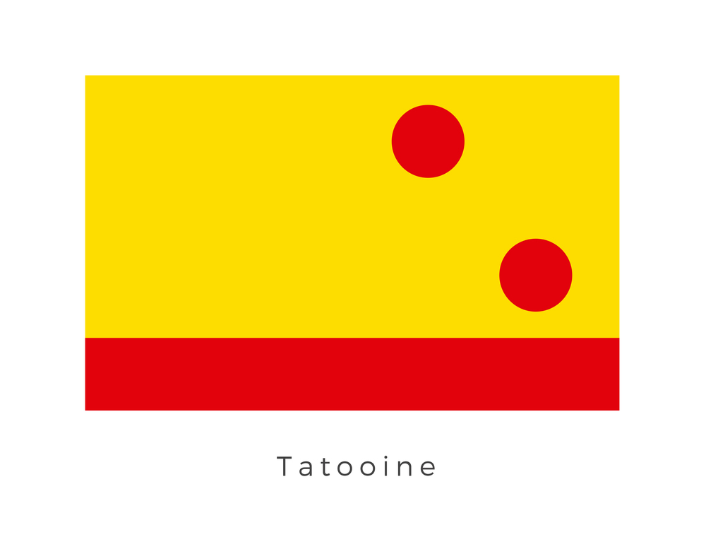 Tatooine  was a desert world and the first planet in the binary Tatoo star system. It was part of the Arkanis sector in the Outer Rim Territories. It was inhabited by poor locals who mostly farmed moisture for a living. Other activities included used equipment retailing and scrap dealing. The planet was on the 5709-‐DC Shipping Lane, a spur of the Triellus Trade Route, which itself connected to the Sisar Run. The planet was not far from the Corellian Run. It had its own navigation system. The two acute circles represent Tatoo I and Tatoo II, the two suns which Tatooine orbits. As the suns have such a significant effect over the physical features of the planet and its economic place in the galaxy the two acutely angled circles have come to be the biggest signifiers of the planet. The red strip along the bottom of the flag, represents the rule that the Hutts Lords have over large swarths of Tatooine. The yellow is the primary identifying colour of Tatooine. This association is due to thousands of years of travellers mistaking Tatooine for a sun due to its desert appearance and the bright reflection from the two stars it orbits.