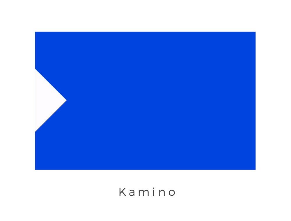 Kamino  was the watery world where the clone army for the Galactic Republic was created. It was inhabited by a race of tall, elegant beings called the Kaminoans. Kaminoans were known to be a mysterious species who tended to keep to themselves. They were known for their cloning technology. The blue of the flag represented the colour of the planet as seen from space while the half diamond shape is believed to represent an early technological tool which helped propel the native Kaminoans out of the water through a prolonged evolution.