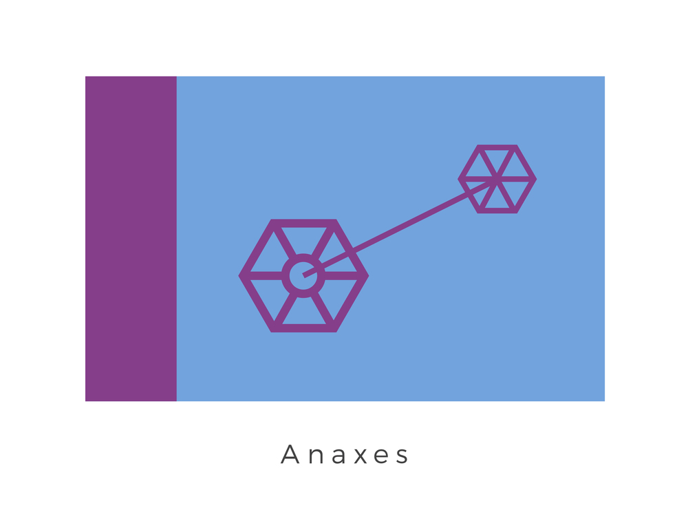 Anaxes  was a planet in the galaxy, with red-colored plant life covering a large portion of the rocky world's surface. Following the end of the Clone Wars, a cataclysmic event destroyed the planet, leaving behind an asteroid belt. Fort Anaxes, a Republic military base constructed on Anaxes during the Clone Wars, survived the planet's obliteration on the surface of the newly created asteroid PM-1203. The flag represents this time period, with the purple graphic representing the fortification itself. Purple and light blue were the colour classification of Fort Anaxes place in the Republics arsenal.