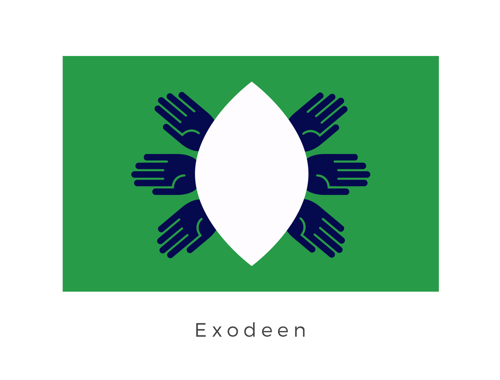 Exodeen  was a planet located in the Colonies along the Hydian Way. Exodeen was the first major occupied world in a string of planets of the Colonies encountered on the Hydian's route. The planet was home to a non-humanoid species known as the Exodeenians who had six arms, six legs, and six rows of uneven teeth. This species is abstractly represented in the form of six hands and a white void. The green background is common of the Colonies planets as it represents optimism and the potential for prosperity brought on by their colonisation.