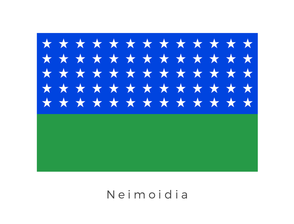 Neimoidia , also called Pure Neimoidia to avoid confusion with the Neimoidian purse worlds, was a planet in the Colonies region that the Duros from Duro colonized sometime around 25,000 BBY, bringing it into the Galactic Republic. The green of the flag represents the planets focus on trade and wealth while the 65 stars represent the members of the Neimoidian Inner Circle. This was a governing body of Neimoidia and the Purse worlds (including Cato Neimoidia) during the last decades of the Galactic Republic.