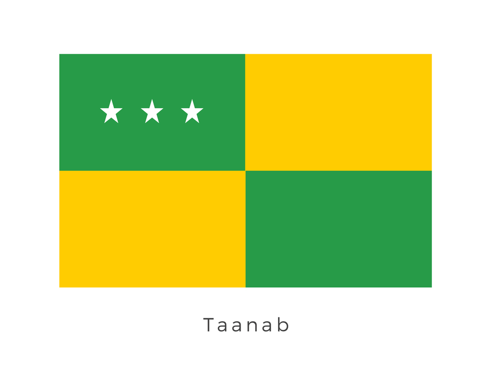 Taanab  was a planet of green meadows in the Taanab system. It was primarily used for agriculture and farming. Its populace was known for always maintaining an air of formality. Green and yellow was the adopted colours of Taanab as the planet became known throughout the Galaxy for its agricultural output. The three stars represent the major attractions of Taanab: The Arcon Multinode Hybrid Plantings, the Banthal Company Docks and the Jedi chapter house.
