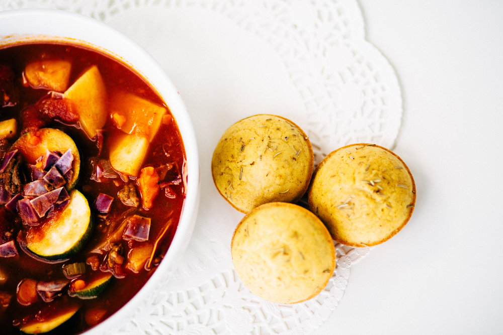 Mama's Hamburger Soup + Rosemary Garlic Dinner Rolls, Photo by Jayleigh Daniel