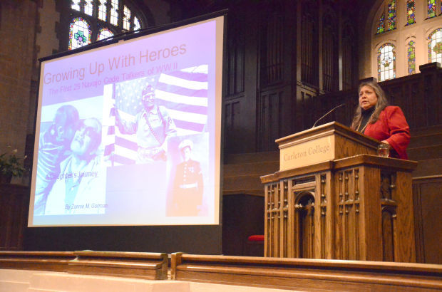 Zonnie Gorman speaks at Carleton College; Photo: Jerry Smith, Northfield News
