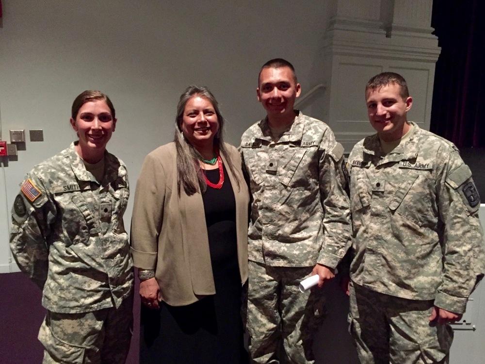 Zonnie with Cadets at East Carolina University   *Photo courtesy of Cadet Emily Smith (Left)