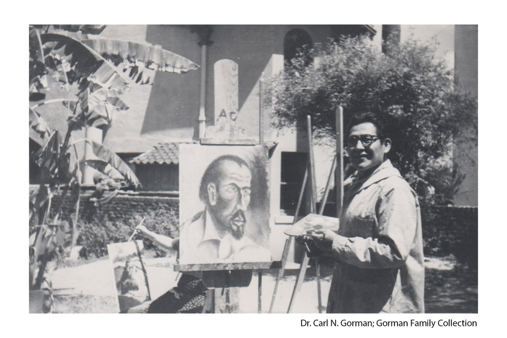 Carl N. Gorman painting during an art class at Otis Art Institute in the 1950s