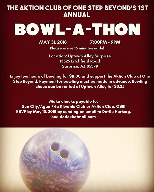 RSVP has been extended!! The #OSBI Aktion Club is hosting a Bowl-a-thon to raise funds for their projects!! Join us for a fun evening of bowling and supporting your community! Please RSVP to Dottie at one.dodo@hotmail.com!  #bowling #bowl #bowlathon #communitysupport #disabilityawareness #abilities