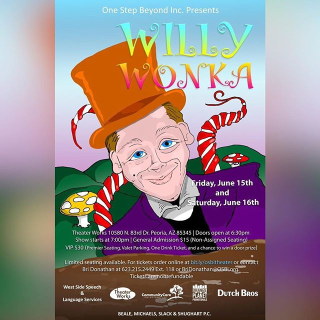 Tickets are now available for the OSBI presentation of Willy Wonka, an inclusive adaption of the 1971 classic we all know and love, on Friday, June 15 and Saturday, June 16 at Peoria Center for the Performing Arts (also known as TheaterWorks). Huge thanks to our sponsors: Beale, Micheaels, Slack & Shugart PC, Westside Speech and Language Services, Community Care Solutions LLC, Orange Planet Promotionals, and Dutch Bros! Get your tickets at bit.ly/osbitheater