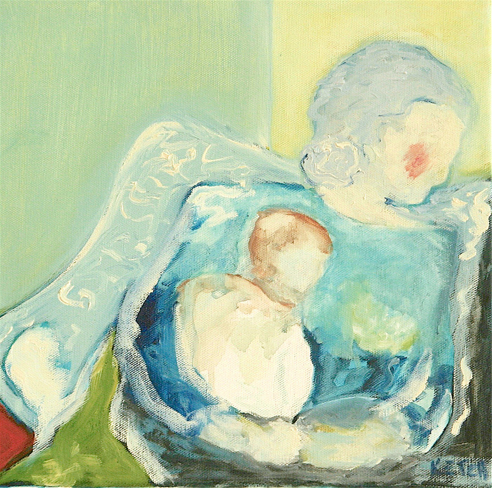 """Embrace"" Oil on canvas, 12x12 by Mary James Ketch"
