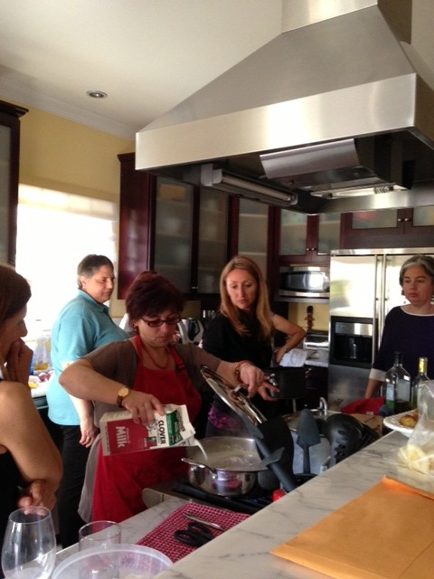 Making cappuccino pork tenderloin with Valeria, Alexandra, Antonella and Barbara