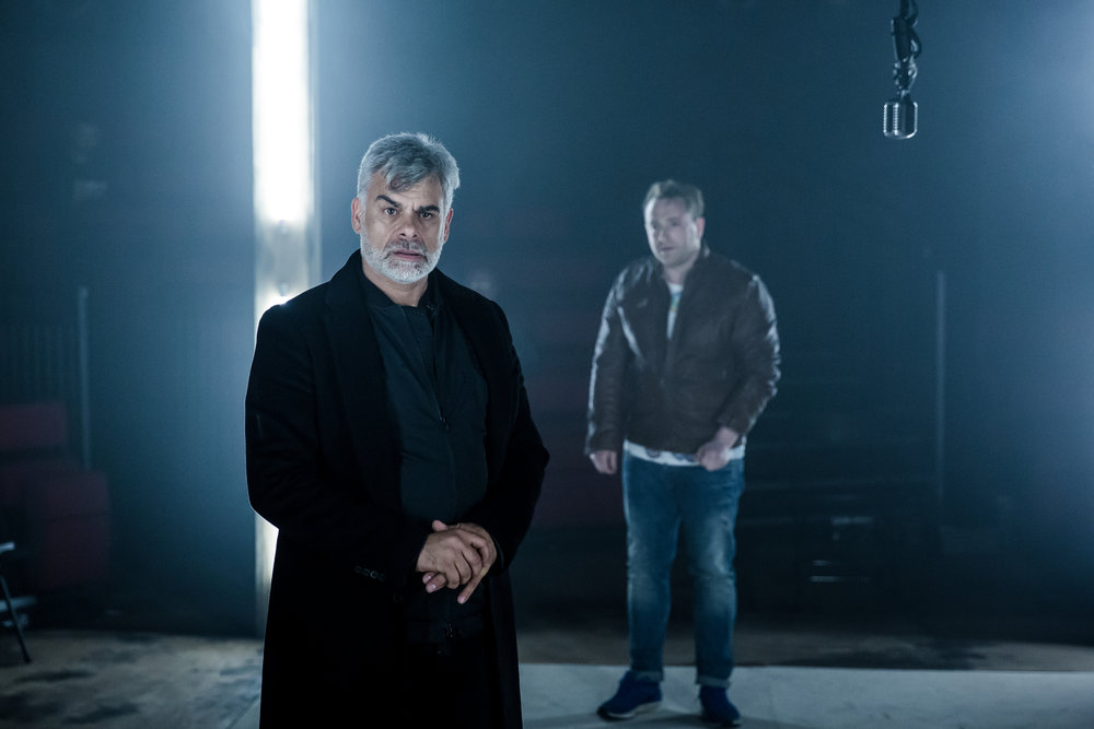 Othello directed by Richard Twyman. Shakespere at the Tobacco Factory co-production.Mark Lockyer as Iago and Brian Lonsdale as Roderigo. Credit- The Other Richard.JPG