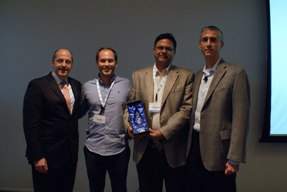 L-R:  Jack Phillips, IIA; Corey Sykes and Viswanath Srikanth, Cisco; Bill Franks, IIA    Congratulations to CISCO, the 2017 ANNY Winner!