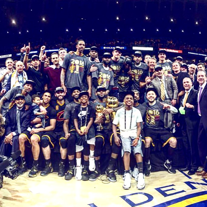 Congrats to Lebron James and  the Cleveland Cavaliers for winning the 2016 NBA Finals! The Cavs made NBA history by becoming the first team to come back from a 3-1 deficit and win their 1st Championship in franchise history. It was a Family affair last night at Oracle arena!