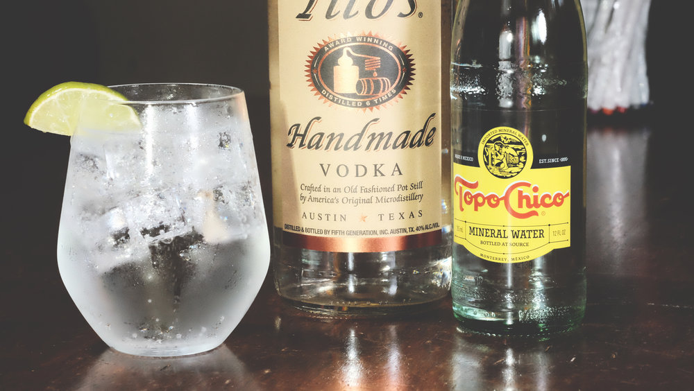 Ingredients  1 1/2 oz Tito's Handmade Vodka Topo Chico Mineral Water  Directions  Add Tito's to fresh ice in glass.  Top with Topo Chico Mineral Water.  Garnish and serve.   Garnish: Lime wedge