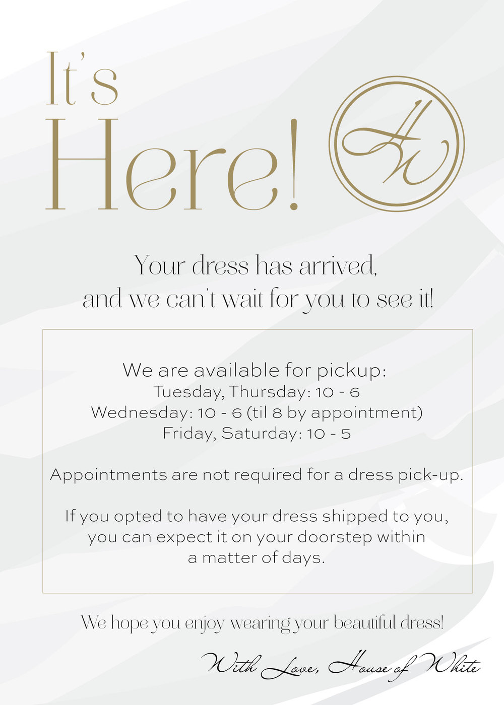 Bridesmaid Dress arrival notice.jpg