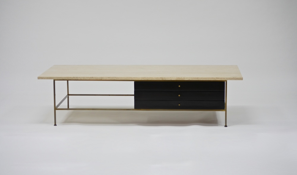 Large Brass And Travertine Cocktail Table By Paul McCobb U2014 Continuum 20th  Century Design