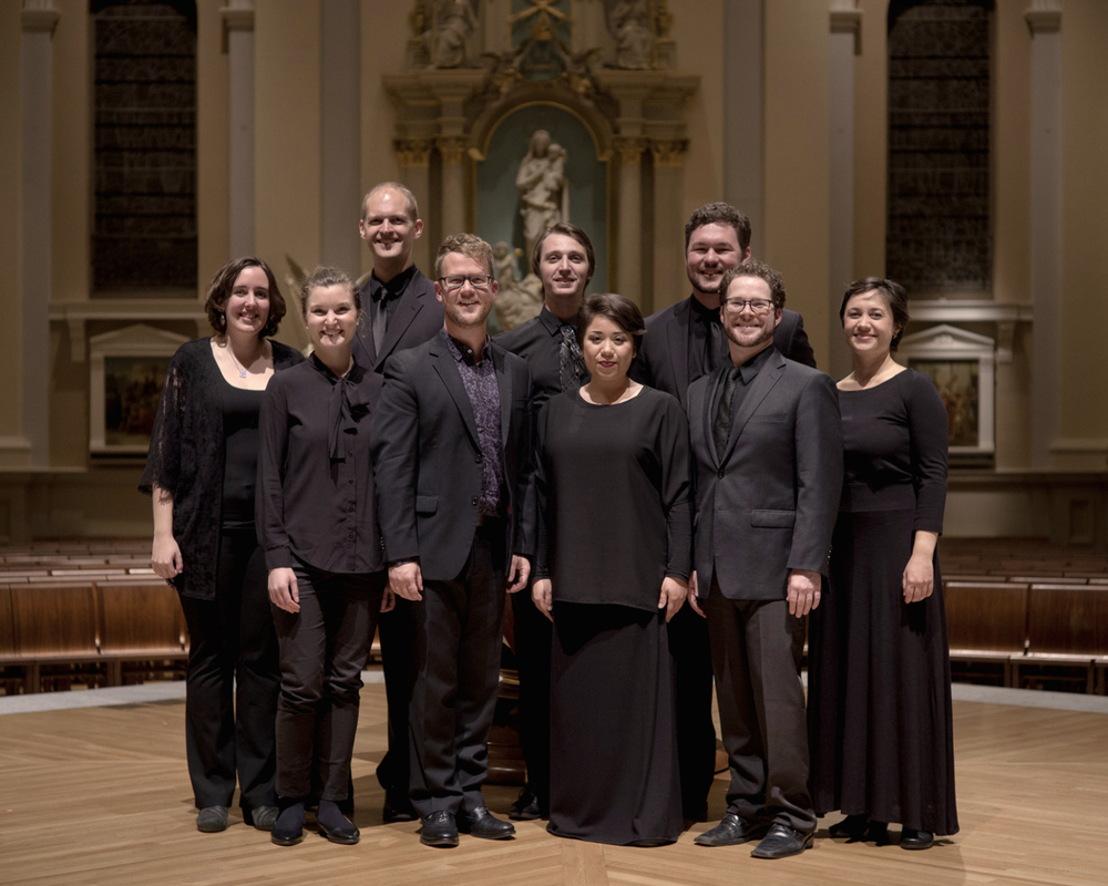 From left to right: Elizabeth Kimble, Soprano Danielle Sampson, Mezzo-soprano Matthew Peterson, Baritone Jace Wittig, Founder & Music Director Samuel Faustine, Tenor Gabriela Estephanie Solis, Alto Clayton Moser, Bass Michael Desnoyers, Tenor Caitlin Tabancay Austin, Soprano photo: Michael Demeyer