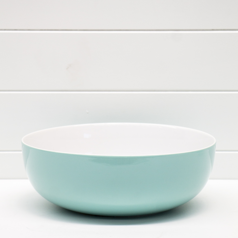 White and Aqua Serving Bowl