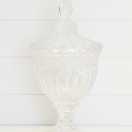 Glass Etched Apothecary Jar