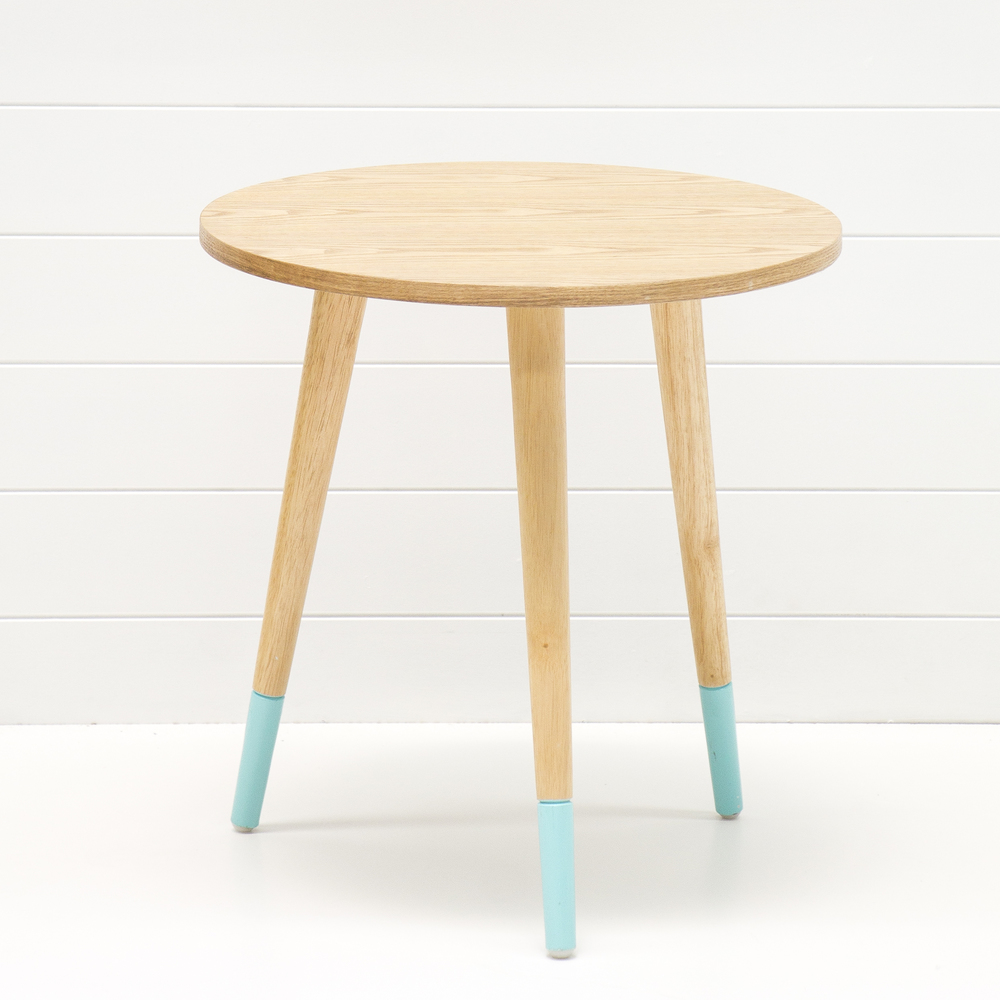 Teak Side Table with Aqua Legs