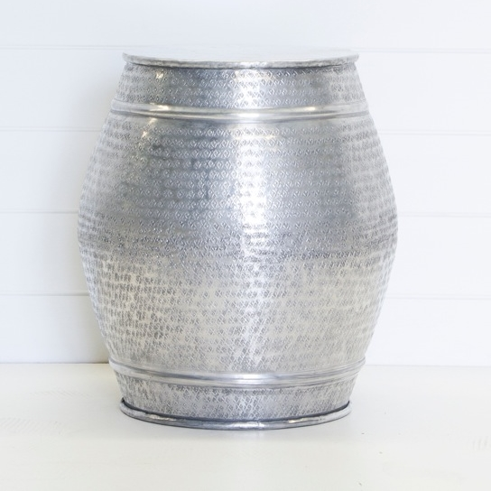 Silver Drum Side Table